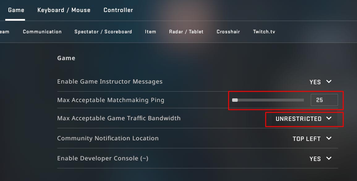 CS GO Game Settings for low Ping