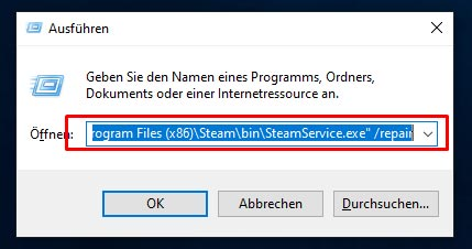 CMD Repair Steam Service Exe