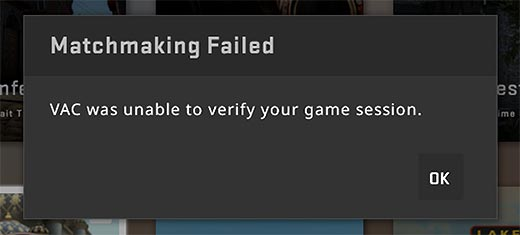 Steam Error Vac Unable to Verify Game Session